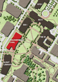 A map of the Engineering Oval that shows where Fitts-Wollard Hall will be.