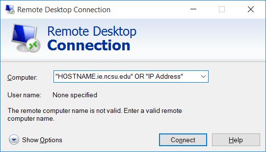Remote Desktop Connection Pop-up Window