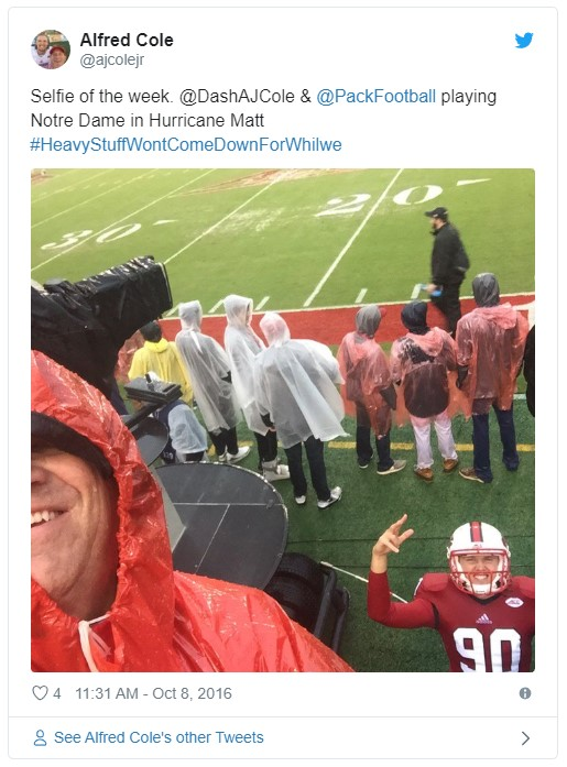 AJ Cole and his Dad at the NC State-Notre Dame Game in Hurricane Matt