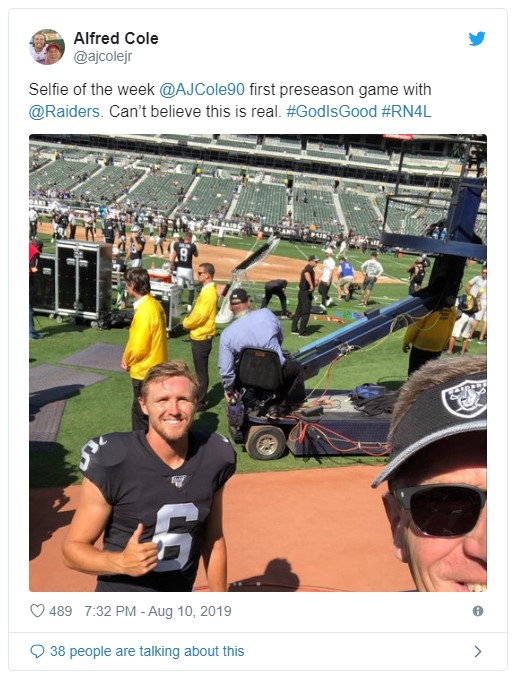 AJ Cole and his Dad at a preseason game with the Raiders