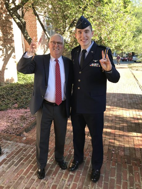 Charles Blum in ROTC uniform with Chancellor Woodson