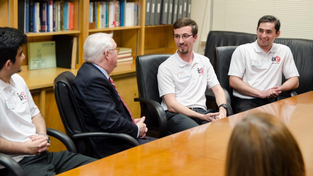ISE Ambassadors speaking to Chancellor Woodson.