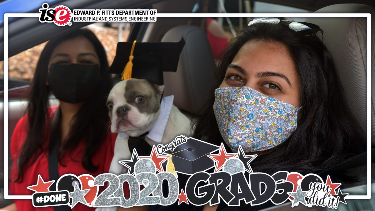 Students in their car with a 2020 Grads filter over top.